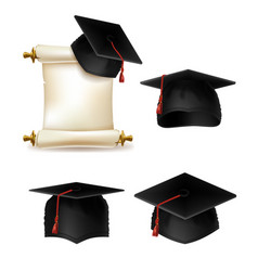 graduation hat academic cap with diploma vector image