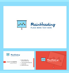 graph chart logo design with tagline front and vector image