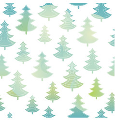 Green and blue christmas trees forest vector