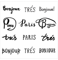 Hand drawn french phrases collection vector