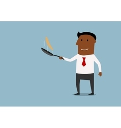 Happy businessman tossing up pancake vector