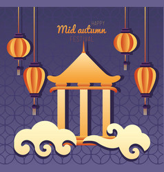 Happy mid autumn festival lettering poster with vector