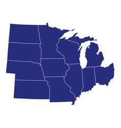 high quality map region united states of vector image