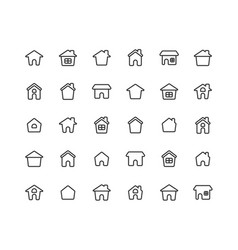 home ouline icon set on white background vector image