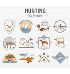 Hunting logo and badge template Dog hunting vector image