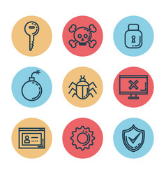 informatic security set icons vector image
