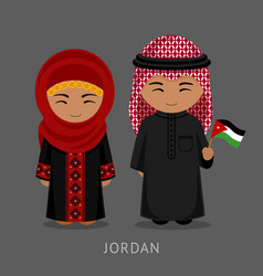 jordanians in national dress with a flag vector image