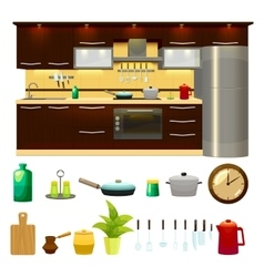 Kitchen Interior Icon Set vector image