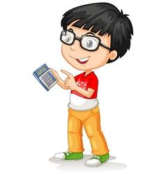 Little asian boy using calculator vector