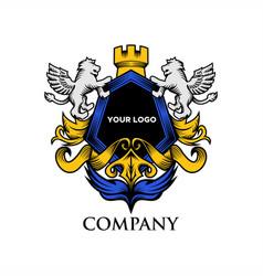 luxury shield lion vector image