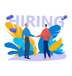 Male character shake hand job seeker person vector