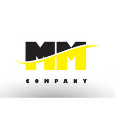 Mm m m black and yellow letter logo with swoosh vector