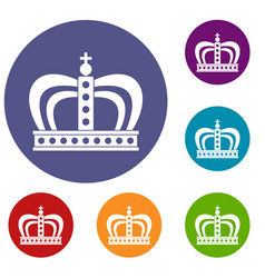 Monarchy crown icons set vector