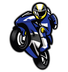 Motorcycle racer wheelie vector