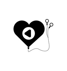 Mp3 heart shaped headphones melody sound music vector