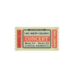 Music hall full ticket on concert isolated card vector