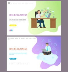 online business worker sitting on cloud with pc vector image