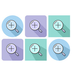 Outlined icon of increase magnifying glass with vector