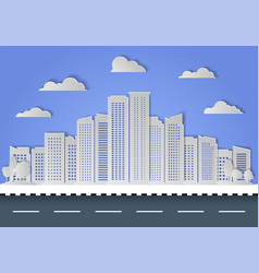 paper cut city and skyscraper on blue sky vector image