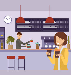 people in a cafe lunch break beverages coffee vector image
