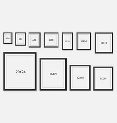 Picture and photo frames size vector