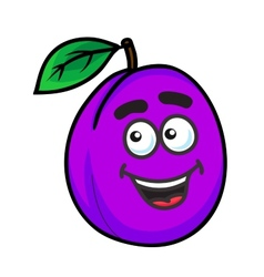 Purple cartoon plum fruit vector image