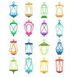 Ramadan lantern set vector