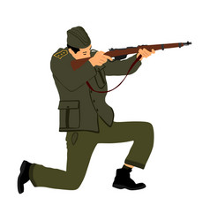 Red army soldier partisan with rifle in battle ww2 vector