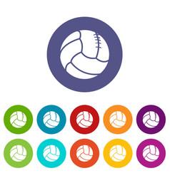 Retro volleyball icons set color vector