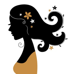 Retro woman silhouette with flowers in hair vector