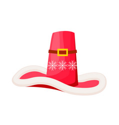 santa claus cowboy hat with snowflakes isolated vector image
