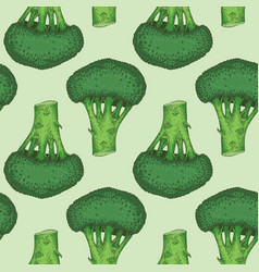 seamless pattern with green broccoli vector image