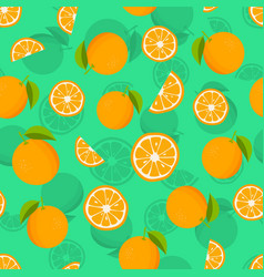 Seamless pattern with oranges and leaves citrus vector