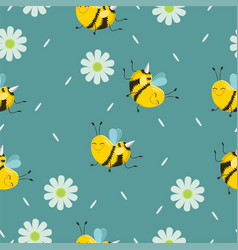 seamless pattern with turquoise bees with flowers vector image