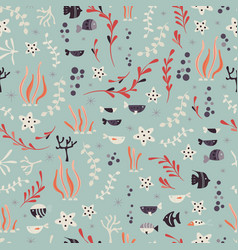 Seamless pattern with underwater ocean animals vector
