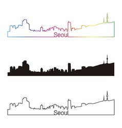 Seoul skyline linear style with rainbow vector image