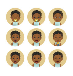 Set afro american child facial expressions vector