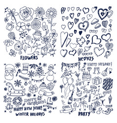 set of flowers hearts winter holidays party cards vector image