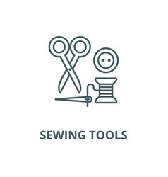 sewingscissors thread needle button vector image