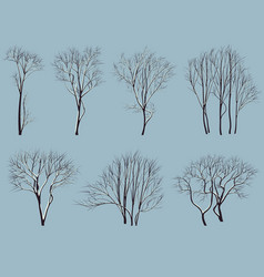 Silhouettes of trees without leaves with snow vector