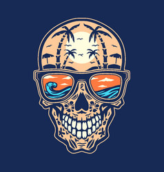 skull beach hand drawn line with digital color vector image