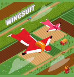 Skydivers in wing suit isometric vector
