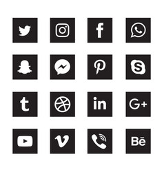 Social media black square icons set vector