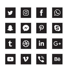 Social media black square icons set vector