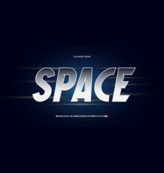 space font silver style vector image