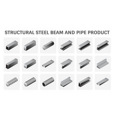 Structural steel beam and pipe product icon vector