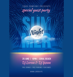 Summer night party poster template vector