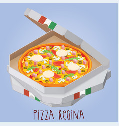 The real pizza regina pizza queen italian pizza vector