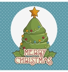 tree merry christmas character icon vector image