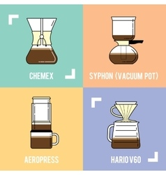 Trendy coffee brewing methods Different ways of vector